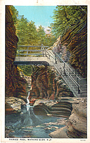 Fairies Pool Watkins Glen New York Postcard P27510