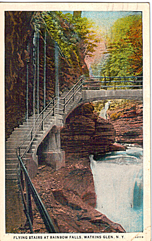 Flying Stairs At Rainbow Falls Watkins Glen Ny Postcard P27554