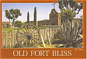 Old Fort Bliss El Paso TX Postcard (Image1)