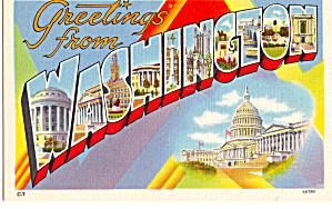 Greetings From Washington DC Big Letter Postcard p27777 (Image1)