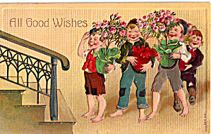 Good Wishes  Young Boys Bearing Flowers p28059 (Image1)