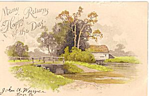 Farm Scene Happy Returns Postcard p28096 (Image1)
