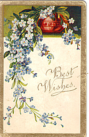 Best Wishes Vintage Post Card with Flower Motif p28229 (Image1)