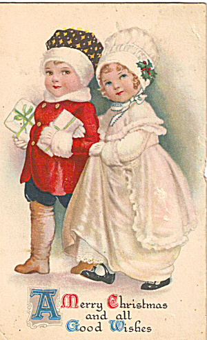 Cute Children on a Christmas Postcard (Image1)