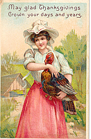 Young Lady and Turkey Thanksgiving Postcard p28255 (Image1)