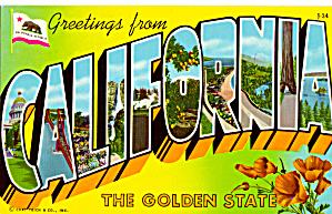 Big Letter Postcard Greetings From California P28451