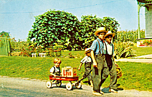 Amish Boys Going Home From Store P28676