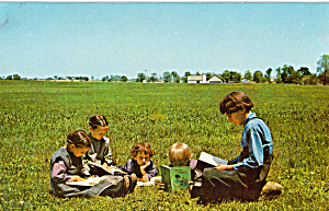 Group Of Amish Boys And Girls During School Recess P28714