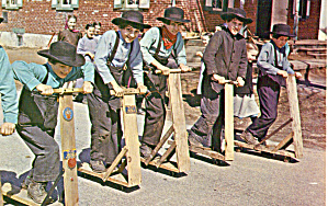 Amish Boys Racing on Scooters at School p28749 (Image1)