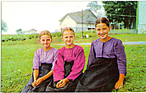 Amish Girls sitting in Grass p28983 (Image1)