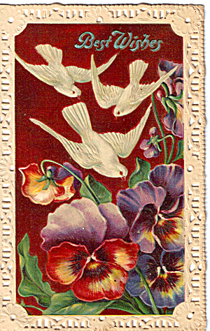 Best Wishes Post Card With Lace Edge P29145