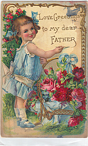 Adoarable Young Girl On Greeting to Father Post Card p29264 (Image1)