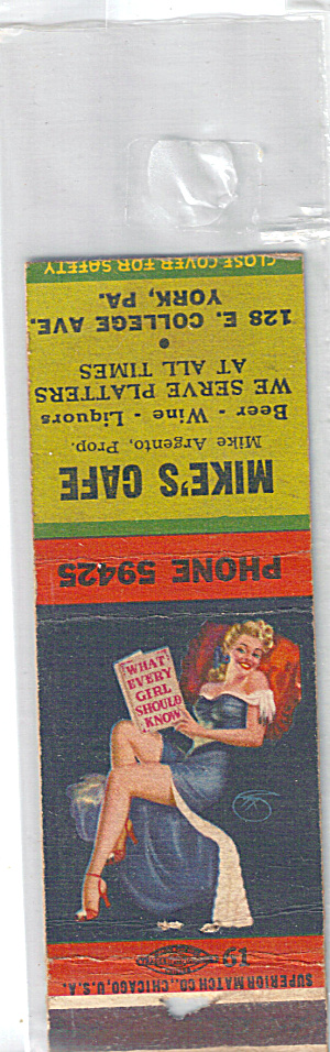 Mikes Cafe Pin Up Match Book Cover p29265 (Image1)