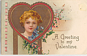 Victorian Girl On Valentines Postcard P29268