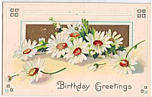 Birthday Greetings on Daisy Decorated Postcard p29315 (Image1)