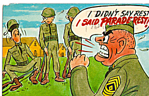 Comical US Army Postcard (Image1)