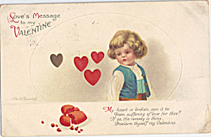 Valentine Card Signed Ellen Clapsaddle