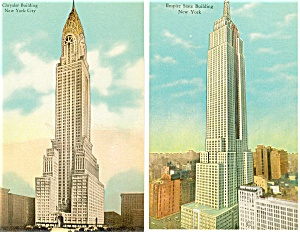 Empire State and Chrysler Bldg New York City Postcards  Lot 2 p2935 (Image1)