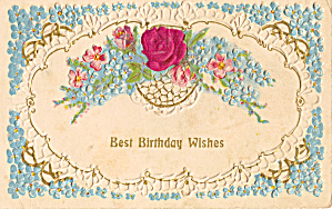 Birthday  Vintage Postcard p29405 with Flowers (Image1)