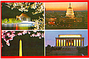 Four View Postcard Of Nations Capital At Night Washington Dc P29502