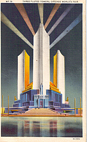 Three Fluted Towers Chicago Fair 1933 Postcard p29575 (Image1)