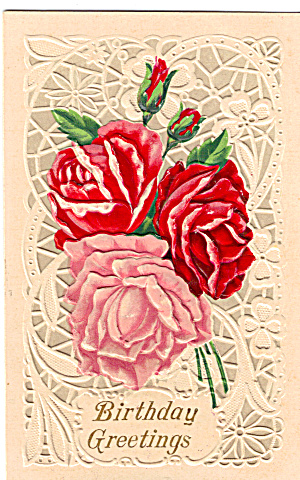 Roses on an Embossed Birthday Card p29605 (Image1)