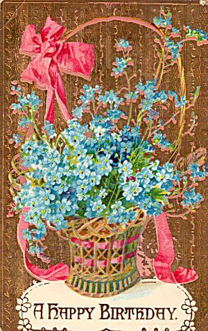 Basket of Flowers Embossed Birthday Card p29607 (Image1)