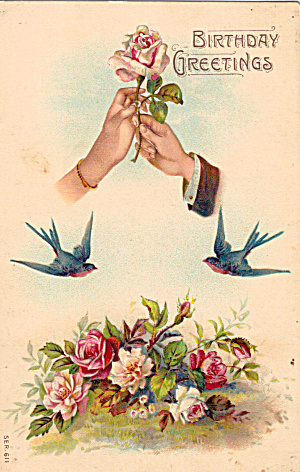 Bluebirds, Flowers on Vintage Birthday Card p29612 (Image1)