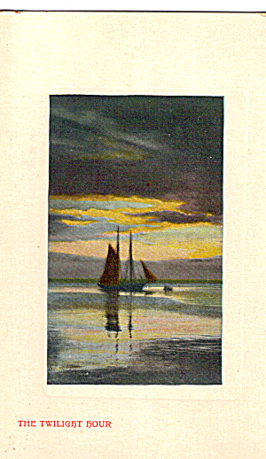 Sail Boat at Twilight Vintage Postcard p29615 (Image1)