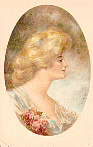 Portrait of Victorian Woman 1909 Postcard (Image1)
