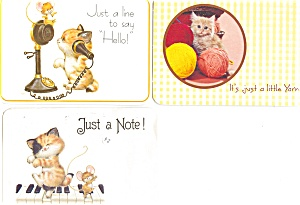 Kitten Note Postcard Lot Of 3