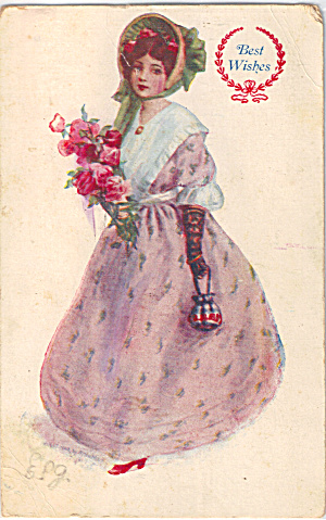 Victorian Girl, Best Wishes Postcard p29655 (Image1)