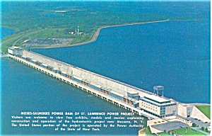 Moses Saunders Power Dam NY Postcard (Image1)