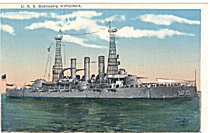Uss Virginia Bb 13 Pre-dreadnought Battleship P29712