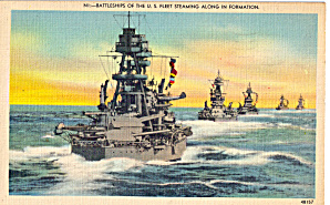Us Navy Battleship Steaming In Formation Postcard P29723