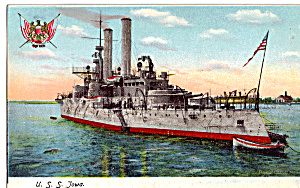 US Navy Battleship Iowa BB 4 Postcard p29725 (Image1)
