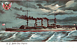 Uss Virginia Bb 13 Pre-dreadnought Battleship Postcard P29732