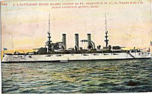 USS Rhode Island BB 17 Battleship Postcard p29736 (Image1)