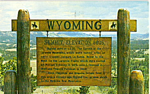 Sign On Summit Of Sherman Hill Wyoming P29869