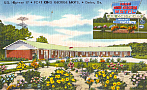 Fort King George Motel  Darien GA Postcard p30126 (Image1)