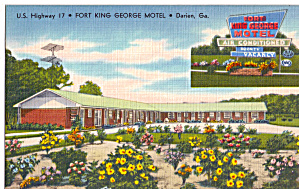 Fort King George Motel Darien GA Postcard p30204 (Image1)