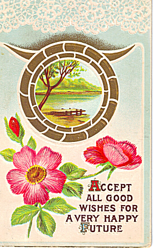 Postcard Flowers and Lake Scene 1916 (Image1)