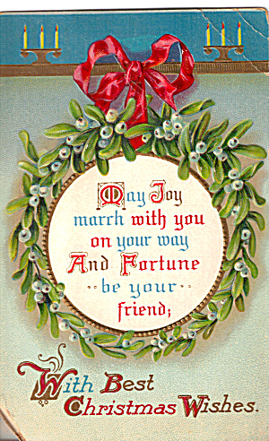Christmas Card with Wreath and Best Wishes (Image1)