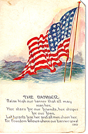 The Banner 48 Star Flag Postcard p30316 (Image1)