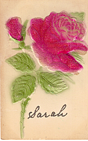 Roses Embossed Postcard Marked Sarah In Glitter