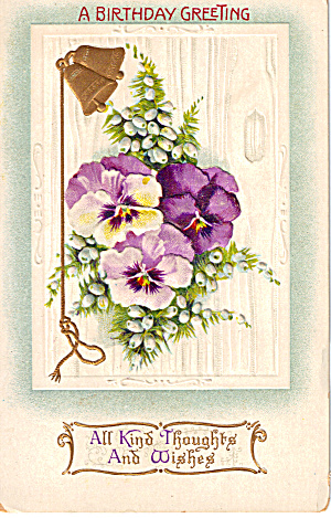 Vintage Birthday Postcard with Floral Design p30336 (Image1)
