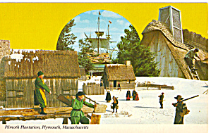 Pilgrims in Winter Scene at  Plimouth Plantation MA p30395 (Image1)
