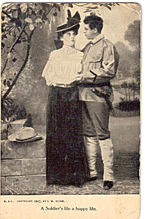 A Soldier and Lady Vintage Postcard 1907 (Image1)