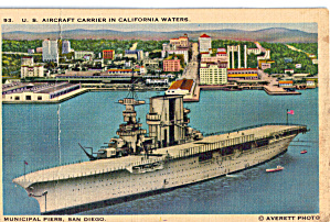 Us Aricraft Carrier In California Waters Postcard P30435