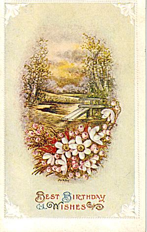 Birthday Wishes Vintage Postcard p30516 1912 (Image1)